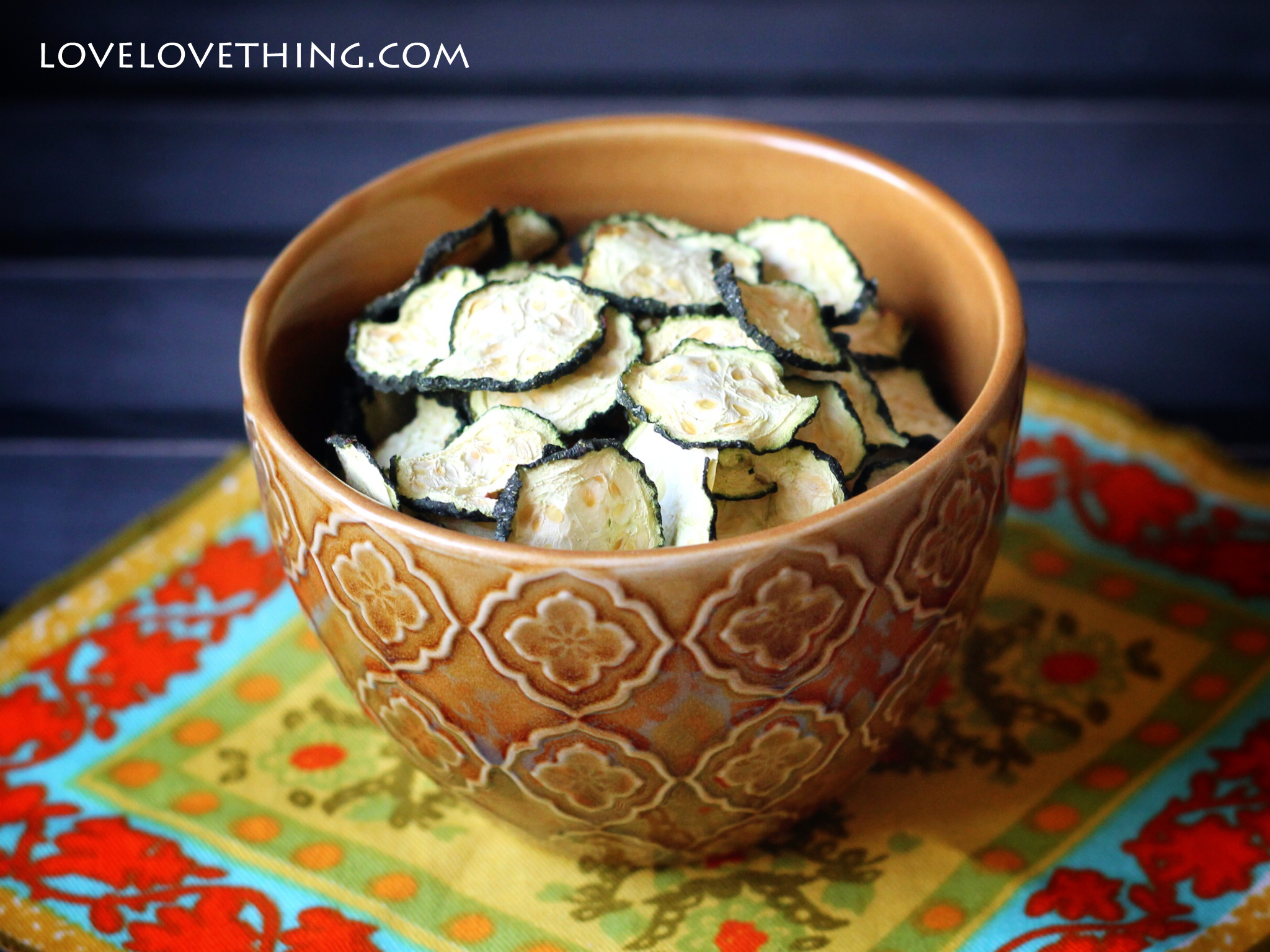 Dehydrated zucchini chips - so simple and healthy and you can customize the flavor to suit your tastes.